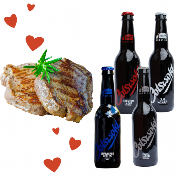 Cotswold lager and steak