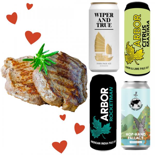 Valentines Meal offer 2 fillet steaks and 4 cans beer