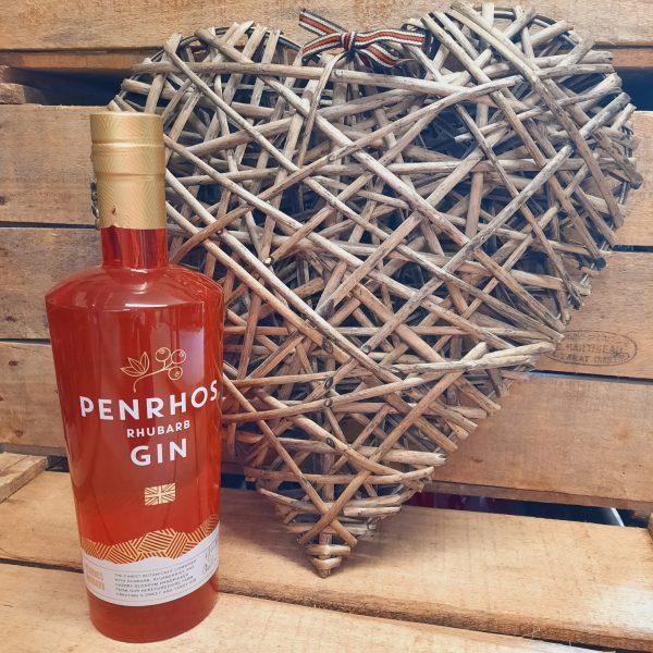 Penrhos Rhubarb Gin and Wicker Heart