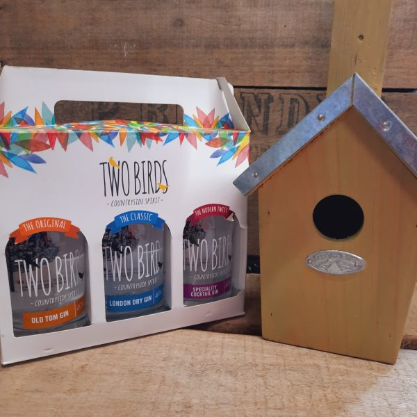 Two birds miniatures and bird house gift
