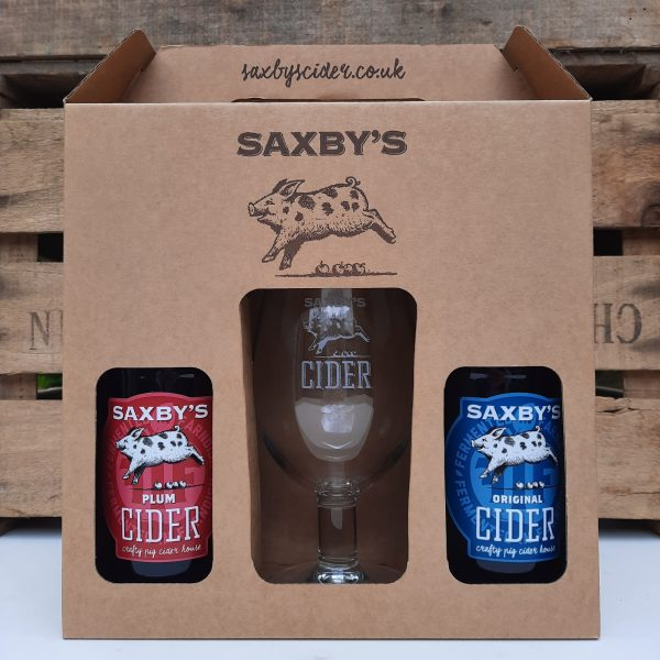 Saxbys Cider 2 bottle gift set with glass